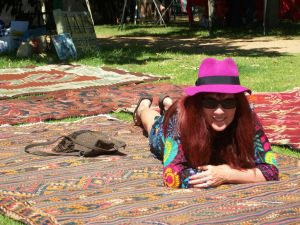 The lovely carpet lady at Rondebosch Market